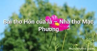 Bài thơ Hồn của lá – Nhà thơ Mạc Phương