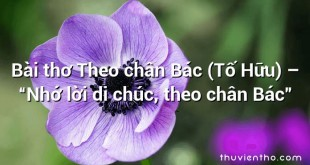 """Bài thơ Theo chân Bác (Tố Hữu) – """"Nhớ lời di chúc, theo chân Bác"""""""