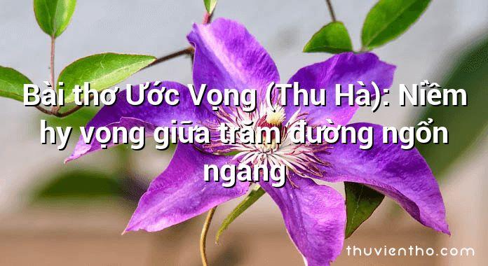 Bài thơ Ước Vọng (Thu Hà): Niềm hy vọng giữa trăm đường ngổn ngang