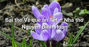 Bài thơ Về quê ăn Tết – Nhà thơ Nguyễn Đình Huân
