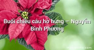 Buổi chiều câu hờ hững  –  Nguyễn Bình Phương