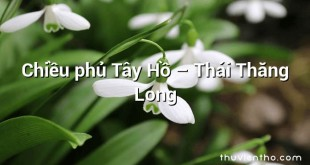Chiều phủ Tây Hồ – Thái Thăng Long