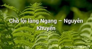 Chỗ lội làng Ngang  –  Nguyễn Khuyến