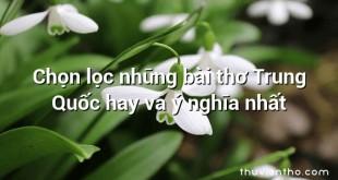 Chọn lọc những bài thơ Trung Quốc hay và ý nghĩa nhất