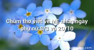 Chùm thơ viết về MẸ nhân ngày phụ nữ 8/3 và 20/10