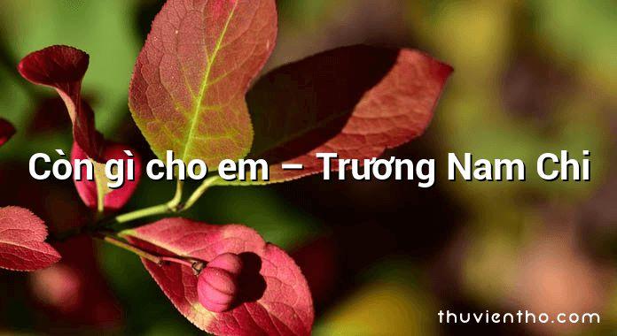 Còn gì cho em – Trương Nam Chi
