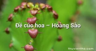 Đề cúc hoa – Hoàng Sào