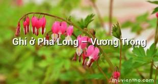 Ghi ở Pha Long  –  Vương Trọng