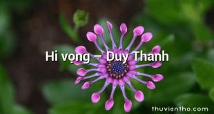 Hi vọng  –  Duy Thanh