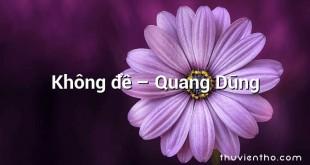 Không đề  –  Quang Dũng
