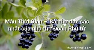Màu Thời Gian – Bài thơ đặc sắc nhất của nhà thơ Đoàn Phú tứ