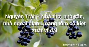 Nguyễn Trãi – Nhà thơ, nhà văn, nhà ngoại giao…mang tầm cỡ kiệt xuất vĩ đại