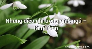 Những điều ghi trong giấc ngủ  –  Kim Tuấn