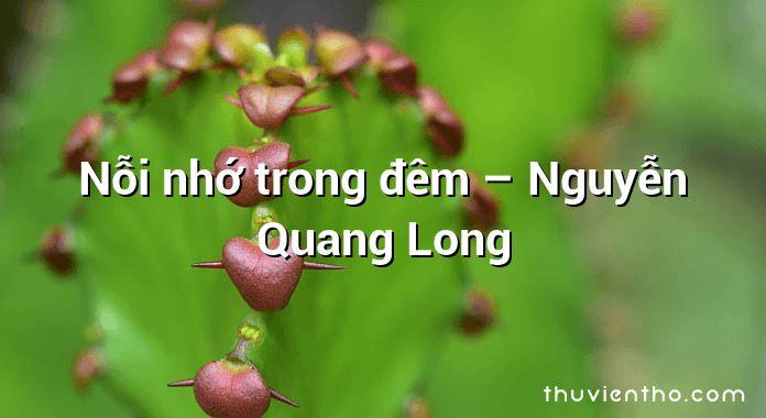 Nỗi nhớ trong đêm – Nguyễn Quang Long