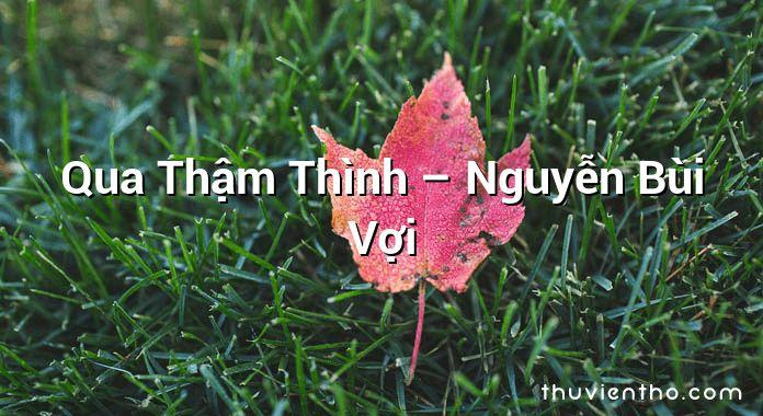 Qua Thậm Thình – Nguyễn Bùi Vợi