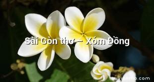 Sài Gòn thơ –  Xóm Đồng