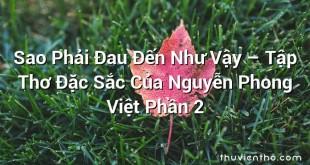 Sao Phải Đau Đến Như Vậy – Tập Thơ Đặc Sắc Của Nguyễn Phong Việt Phần 2