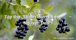 Tập thơ: Thanh Hiên thi tập 清軒詩集 – Nguyễn Du P1