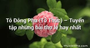 Tô Đông Pha (Tô Thức) – Tuyển tập những bài thơ lẻ hay nhất
