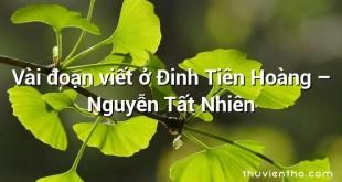 Vài đoạn viết ở Đinh Tiên Hoàng – Nguyễn Tất Nhiên