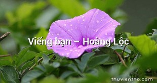 Viếng bạn  –  Hoàng Lộc