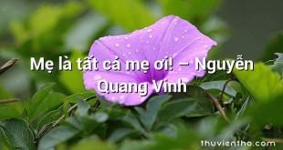 Mẹ là tất cả mẹ ơi! – Nguyễn Quang Vinh