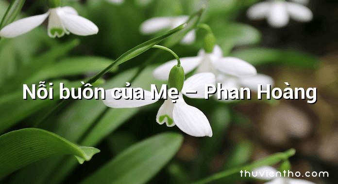 Nỗi buồn của Mẹ – Phan Hoàng