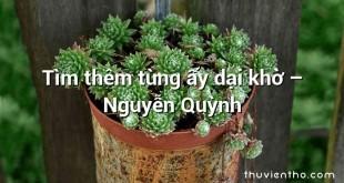 Tìm thêm từng ấy dại khờ – Nguyễn Quỳnh