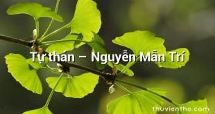 Tự thán – Nguyễn Mẫn Trí