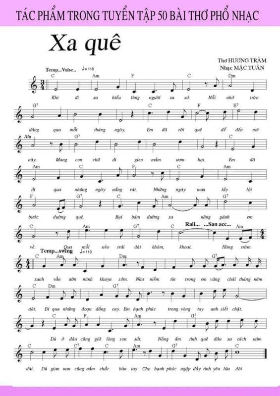 Bản nhạc phổ thơ Hương Tràm